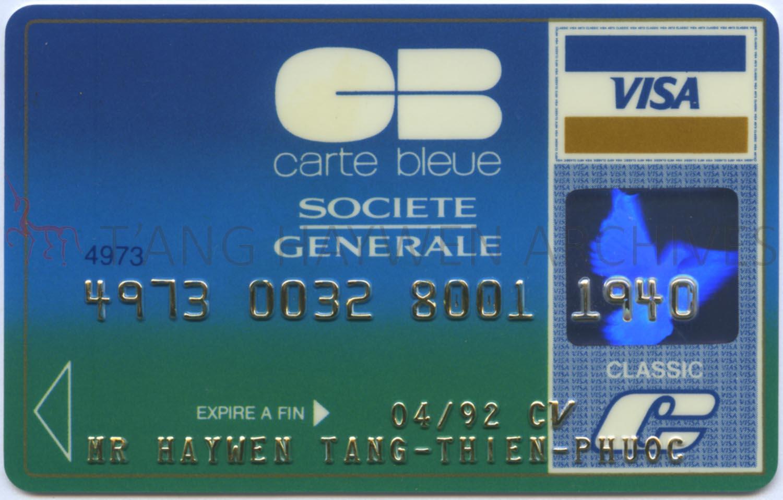 Carte Visa Classic Societe Generale.T Ang Haywen Archives 曾海文檔案庫 Archival Materials