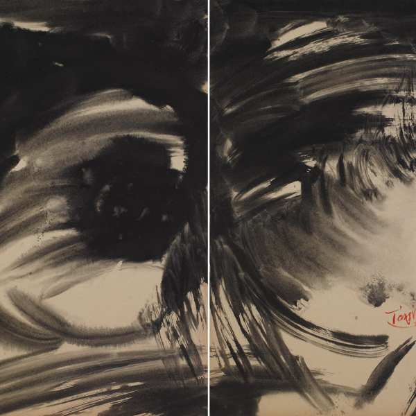 Untitled, 1970-73, ink on Kyro card, diptych