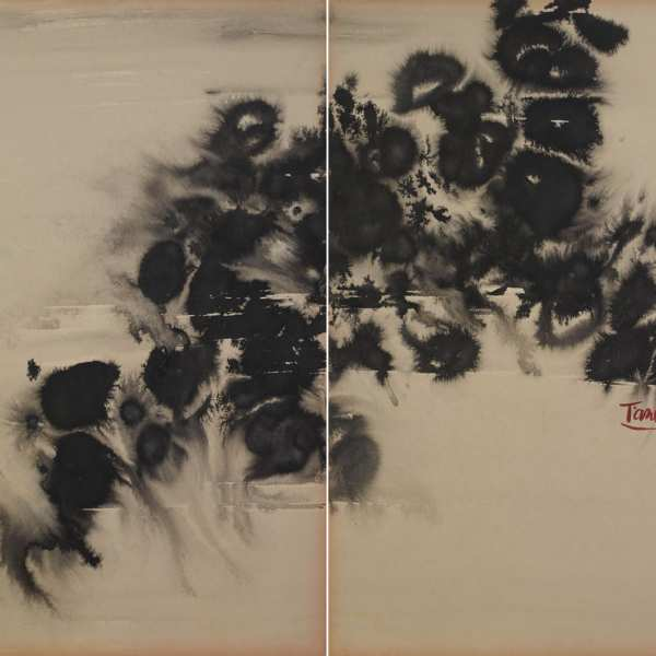 Untitled, 1970s, ink on card, diptych