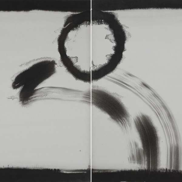 Untitled, 1974-76, ink on Kyro card, diptych