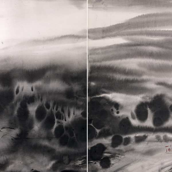 Untitled, 1980s, ink on card, diptych
