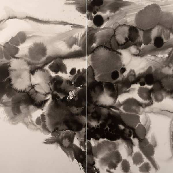 Untitled, c.1985, ink on Arches paper, diptych