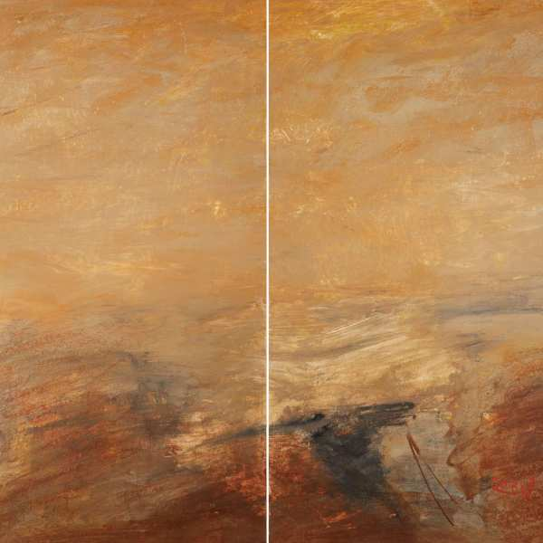 Homage to Turner, 1980, mixed media on Kyro card, diptych