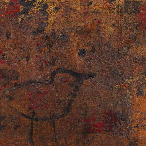 Untitled (Bird), 1965, mixed media on newspaper, lay down on Japanese paper and canvas