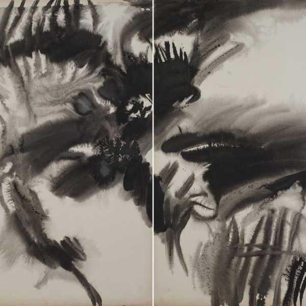 Untitled, 1974, ink on card, diptych