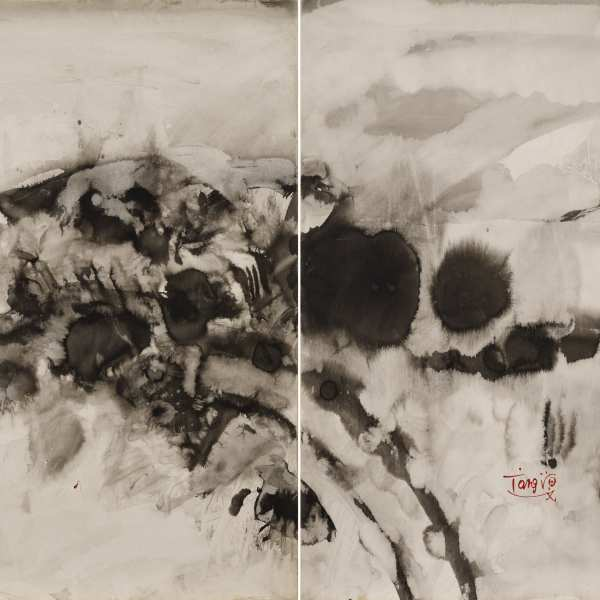 Untitled, 1973, ink on Kyro card, diptych