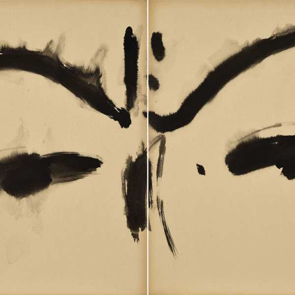 Untitled, c.1968, ink on Kyro card, diptych