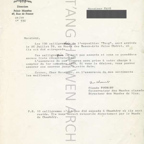 Letter from the Museum of the City of Nice in 1979