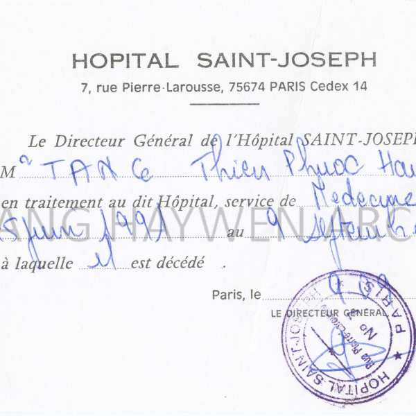 Death certificate from the Saint-Joseph Hospital