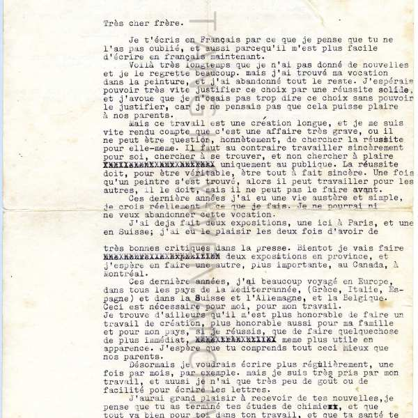 Letter sent to brother from T'ang in 1958