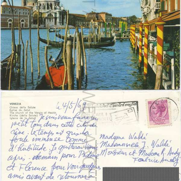 Postcard sent by T'ang in Venice in 1969