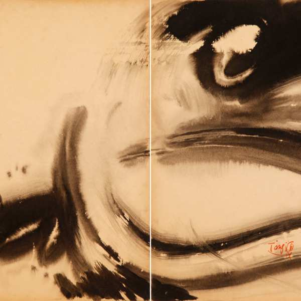 Birth of the dragon, 1970, diptych, ink on Kyro card, 70x100cm, signed