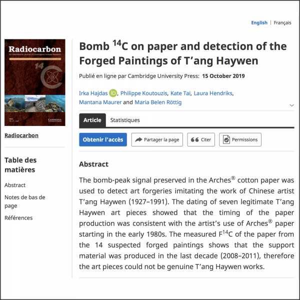 T'ang Haywen Archives co-écrit un article publié par Cambridge University Press