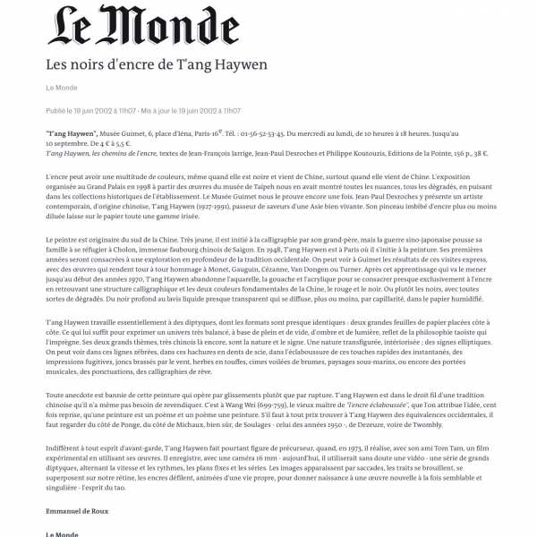 Le Monde (French newspaper) on 19 June 2002