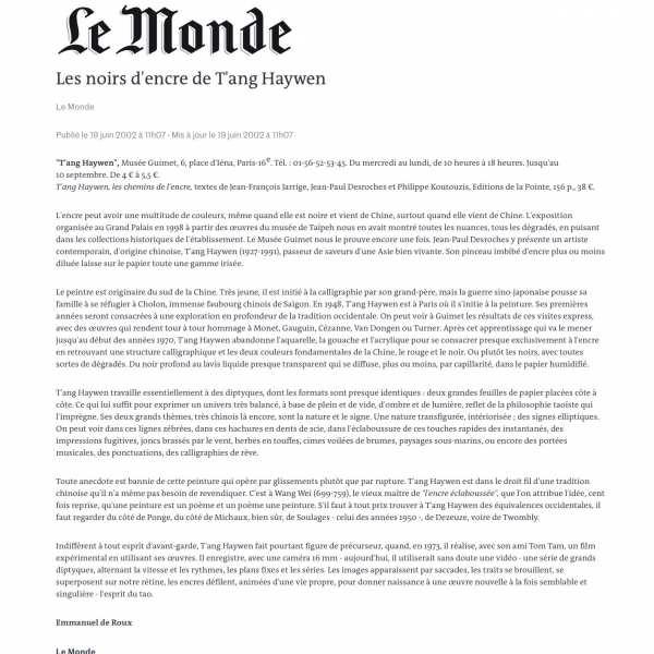 Le Monde, publié le 19 Juin 2002